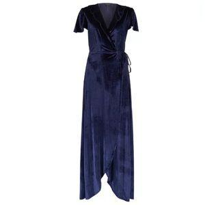 🆕 Hale Bob Velvet Maxi Dress Wrap V-Neck Blue